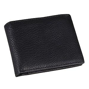 HASFINE Men's Bifold Wallet RFID Blocking Genuine Leather Purse With Zipper Coin Pocket Handmade Extra ID Window Card Holder