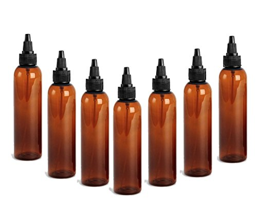 (AMBER PET Cosmo Plastic Bottle (PBA Free) 4 Oz w/Squeeze Top Screw-On Dispenser (6 Bottle Pack) by Grand Parfums)