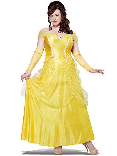California Costumes Women's Plus-Size Classic Beauty Fairytale Princess Long Dress Gown Plus, Yellow, XXX-Large -