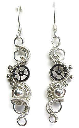 Sterling Silver Woven Steampunk Earrings