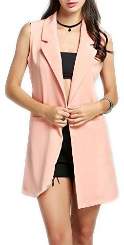Women%27s+Open+Front+Lapel+Sleeveless+Long+Waistcoat+Blazer+Jacket+Vest+Cardigan+%28M%2C+Pink%29