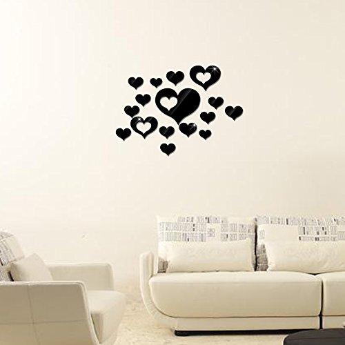 (Adarl DIY Crystal Acrylic Mirror Wall Stickers Modern Removable Heart Design Wall Art For Home Decor)