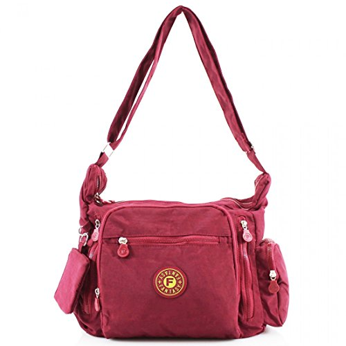 Messenger Wine Body Shoulder Multi Handbag Cross Ladies Women Satchel Bag Tote Pockets wqIRxP