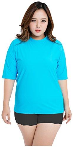 Ilishop Women's Plus-Size Breeze Rashguard Solid Swim Shirt Rashguard Blue L(3xPlus)