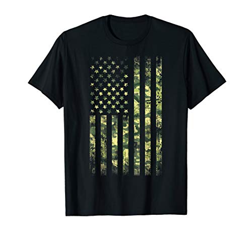 Patriotic Camouflage Shirt 4th of July Camo American Flag T-Shirt