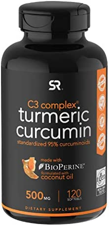 Turmeric Curcumin C3 Complex 500mg, Enhanced with Black Pepper Organic Coconut Oil for Better Absorption Non-GMO Gluten Free – 120 Count