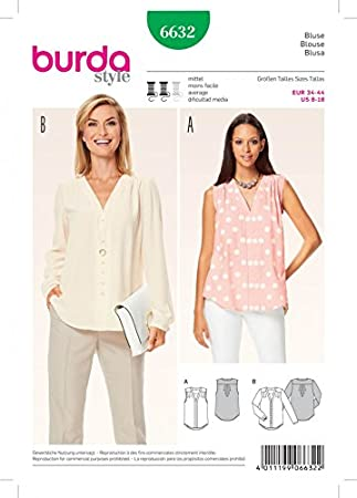 Amazon.com: Burda Ladies Sewing Pattern 6632 V Neck Blouse Tops ...
