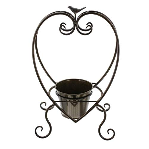 GQSHK Plant Flower Stand Wrought Iron Flower Bucket Flower Pot Shelf - Heart-Shaped Decorative Flower Stand Bucket Rack - Desktop Flower Pot Flower Bucket Stand