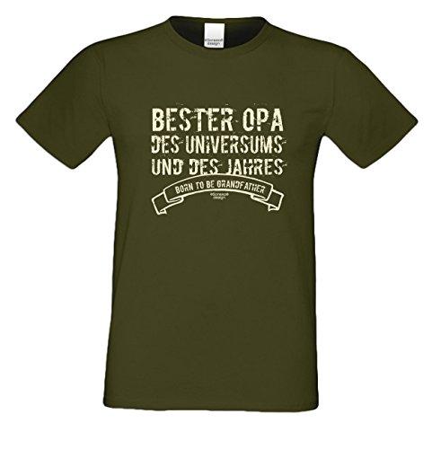 Großvater Fun-T-shirt als Top Geschenk mit GRATIS Urkunde - Bester Opa des Universums Farbe: dunkelgrün Gr: L