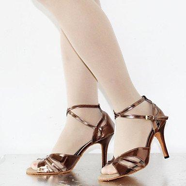XIAMUO Anpassbare Damen Tanzschuhe Latein Kunstleder Stiletto Heel Silber/Schokolade, Silber, US 9 / EU 40/UK7/CN41