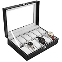 Watch Box, Ohuhu Leather Watch Box Case Jewelry Display Storage with Glass Top and Removal Storage Pillows, Black