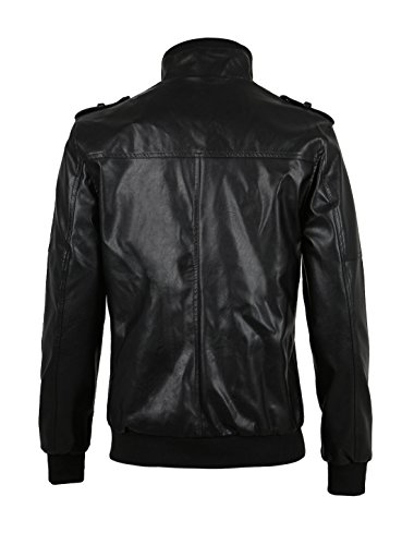 Zip Black Sourcingmap Imitation Jacket Stand Men Closed Collar Leather ggqrT1w57