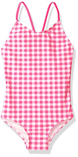 Kanu Surf Little Girls' Lilly Check 1-Pc Swimsuit, Pink, 6 (Lilly Bathing Suits)