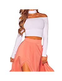 Eiffel Womens Choker Long Sleeves Off Shoulder Stretchy Crop Top