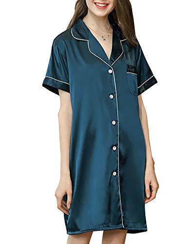 a Donna corta lungo donne Camicia Pigiama Pigiama Sleepwear Notte C da Maniche Tutte per Stile DaiHan le Stagioni Biancheria delle xIRBwI