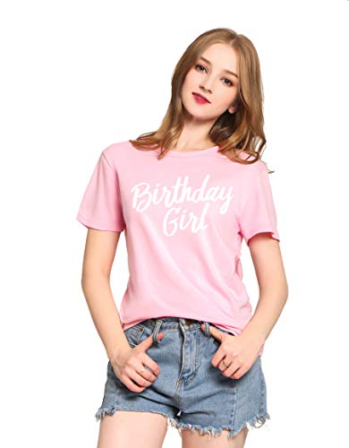 - PINJIA Womens Cotton Cute Happy My Birthday Girl Queen Tshirts Top Tees Outfit Gift(M,Pink 16)