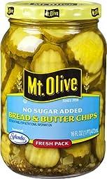 Mt. Olive Bread & Butter Chips, No Sugar Added 16 Oz (Pack of 3)
