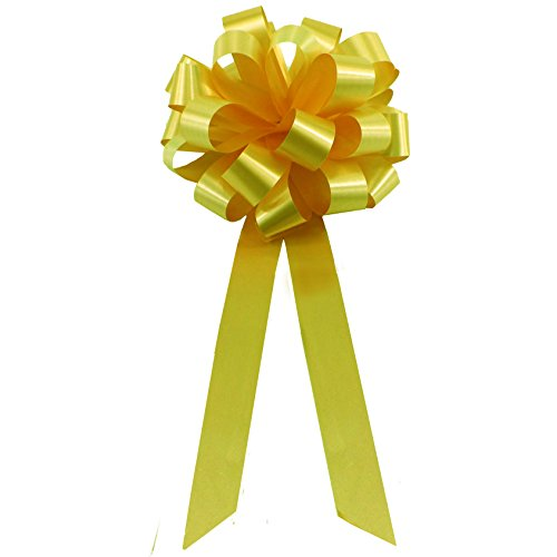 daffodil-yellow-pull-bows-with-tails-8-wide-set-of-6-support-our-troops-ribbon