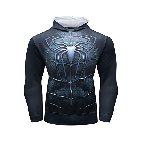 Dri-fit Pull Over Hoodie Black Spider Graphic Casual Hooded T-Shirt L