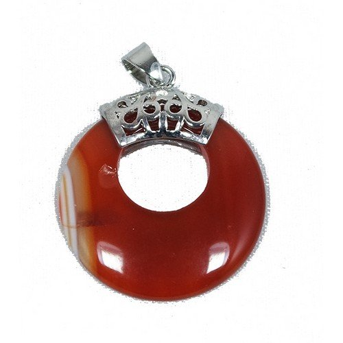 1 x Red Carnelian 28mm Pendant (Donut) - (CB50111) - Charming Beads