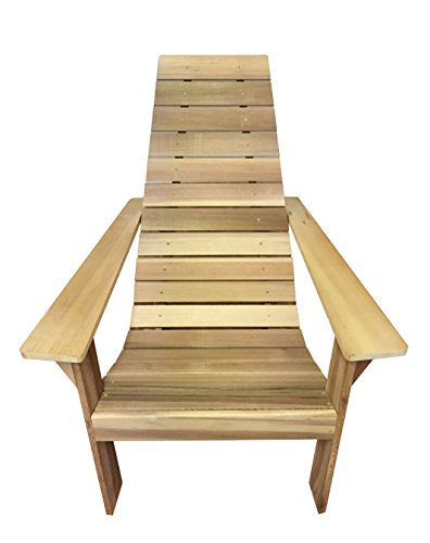 Cedar Wood Adirondack Chair, Amish Made Outdoor Chairs, Weather Resistant Wooden Patio Deck and Porch Outside Furniture, Modern, Casual & Rustic Style Choices (Modern Unfinished Natural) (Western Red Cedar Log)