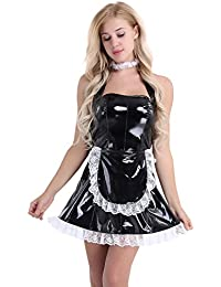 Sexy PVC Leather Lingerie Outfits Frisky French Maid Sexy Costume for Women