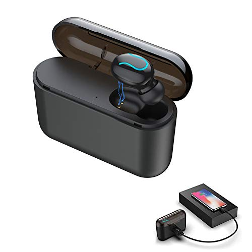 Mini Bluetooth 5.0 Wireless Earbuds Single Earpiece in-Ear Earphone with 120 H Playing Time 1500mAh Portable Charging Case 6.0 Noise Cancelling Mic and Clear Sound Car Headset with iPhone Android
