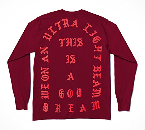 The Life of Pablo Tour Garnet RED Long Sleeve Shirt (Small)