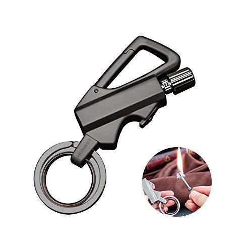FOONEE EDC Multitool Keychain with Fire Starter Bottle Opener, Portable Metal Cigarette Lighter Kerosene Refillable Lighter Key Rings Indoor Outdoor Emergency Survival Gear for Men - Bottles Flint