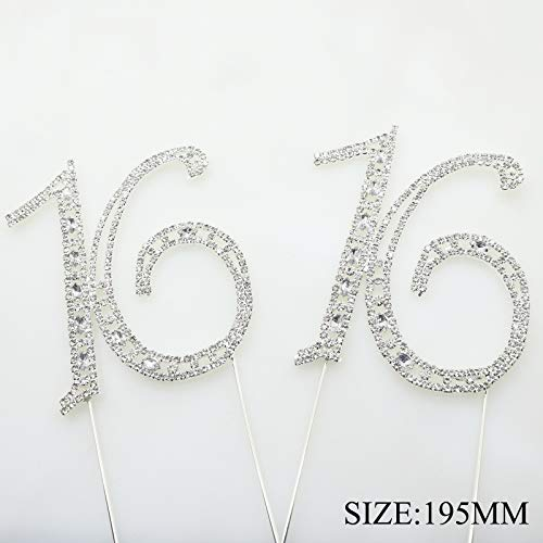 AngHui ShiPin 1pcs Rhinestone 16th Year Crystal Numbers Cake Topper Silver - 16 - Elegant Sparkling Happy Birthday or Wedding Anniversary Party Gift Idea Decorations Supplies Toppers