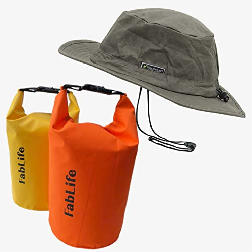 Frogg Toggs 2 Waterproof Dry Bags with Free Waterproof Hat - Great for Rain, Golf, Boating or Any Other Outdoor Activity (Stone)