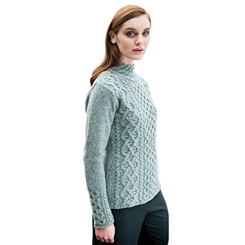 - Women's Wool Sweater, Claddagh Cable Knit, Made in Ireland, Large