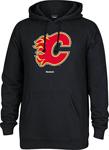 (NHL Calgary Flames Men's Jersey Crest Pullover Hoodie, Medium, Black)