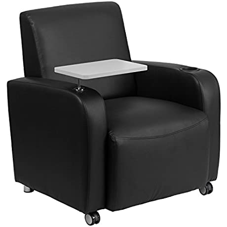 Flash Furniture Black Leather Guest Chair With Tablet Arm Front Wheel Casters And Cup Holder