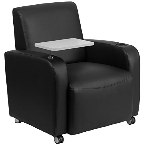 Flash Furniture Black Leather Guest Chair with Tablet Arm, Front Wheel Casters and Cup Holder