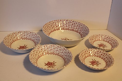 Pink Coupe Cereal Bowl (Johnson Bros Rose Bouquet SET/5 ~1 Vegetable Bowl-2 Coupe Cereal Bowl -2 Fruit/Dessert (Sauce) Bowl~Discontinued. 1974 - 1988)