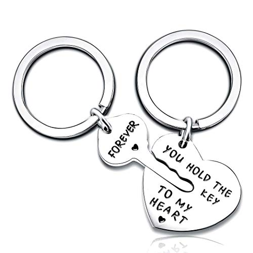 2pcs Couple Key Chain Ring Set - You Hold The Key to My Heart & Forever - Love Heart Key Locks Lover ()