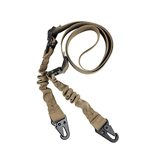 Folgtek 2 Point Tactical Gun Sling,Rifle Sling with Adjustable Strap,Metal Hook,Swivel Attachment,Shooting Gun Accessories,Multi-use Mount Sling for Outdoor Sports Hunting Shooting (Khaki)