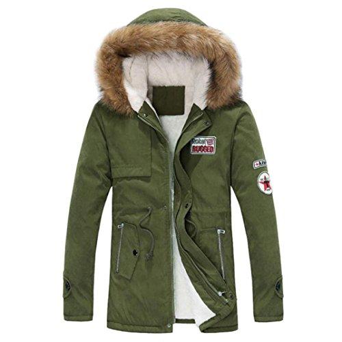Sinzelimin Autumn Winter Men's Thicken Coat Zipper Long Cotton Jacket Hooded Windproof Coat Outwear (Army Green, L) by Sinzelimin