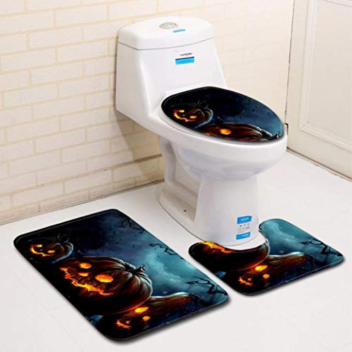 Cocal 3Pcs Special Halloween Bathroom Set Pumpkin Lantern