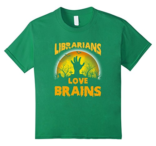 Kids Librarian Zombie Halloween Costume Shirt 12 Kelly Green
