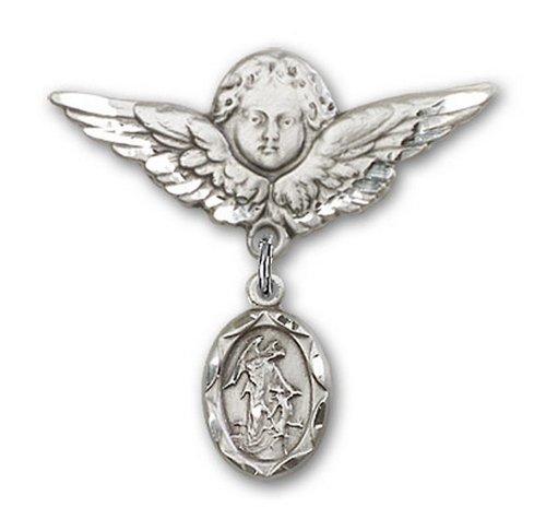 Icecarats Créatrice De Bijoux En Argent Sterling Ange Gardien Ange Charme Broche De Badge 1 1/8 X 1 1/8
