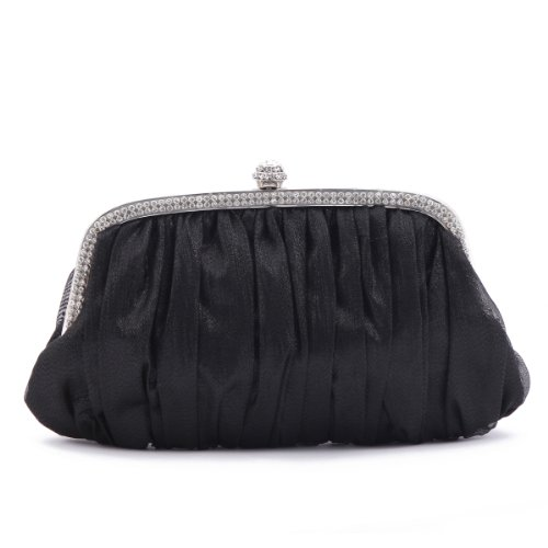 Damara Glitter bags Frame Black Womens Clutch Evening Crystal Sleek qUrq5