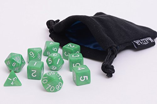 10 Piece Jade Green Polyhedral Dice Set - Includes Four Six Sided Dice (D6) and Free Small Dice Bag ()