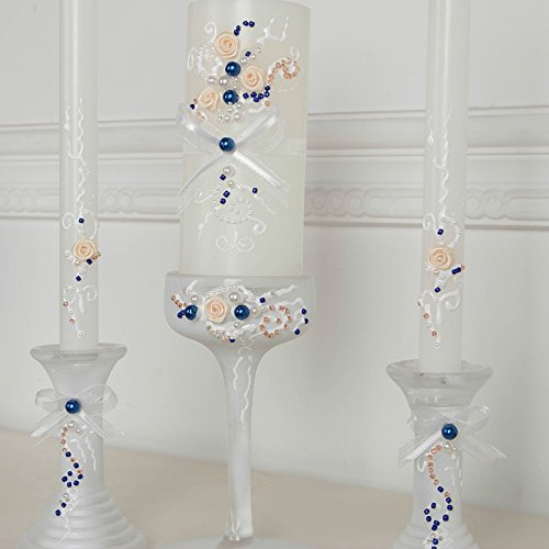 (www.Beadingsupplys.com Beautiful wedding unity candle set in blue-pink-white, perfect set for your unity ceremony candles and 3 glass candleholders)