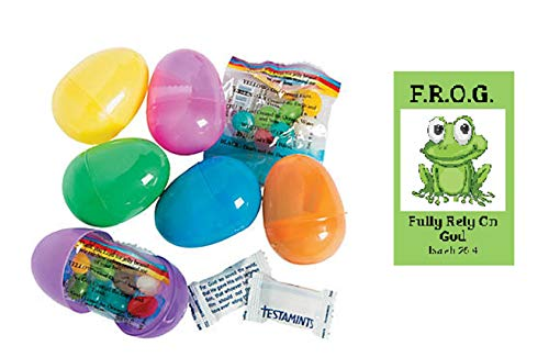Fully Rely On God Card with Bright Colored Candy Filled Christian Easter Eggs (24 Pack)]()
