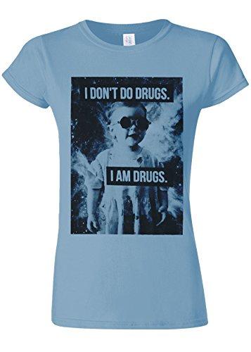 きらきら形成コンピューターを使用するI Don`t Do Drugs I`m Drugs Novelty Light Blue Women T Shirt Top-XXL