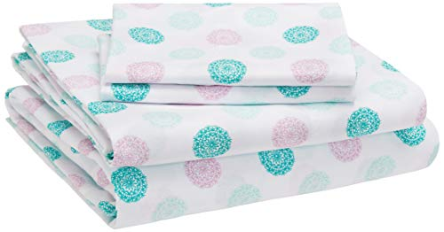 AmazonBasics Kids Sheet Set - Soft, Easy-Wash Microfiber - Queen, Jade Medallion