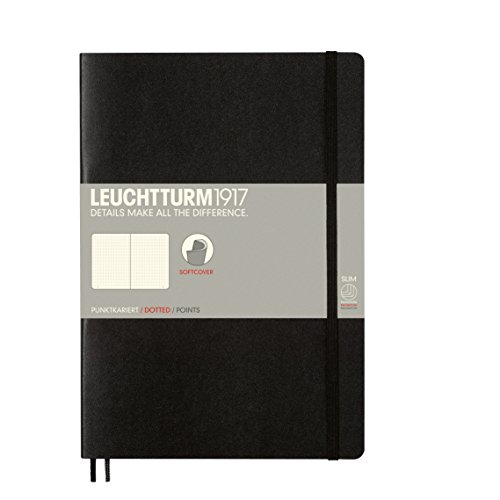 Leuchtturm1917  Softcover Dotted Notebook, 7x10 Inches, Black,  121 Pages, (349298)