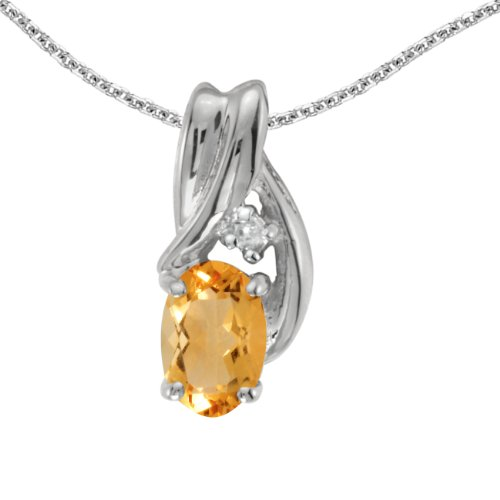 Jewels By Lux 14k White Gold Genuine Birthstone Oval Citrine And Diamond Pendant (0.31 Cttw.)